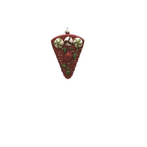 "5"" Merry & Bright Red, White and Green Shatterproof Strawberry Cake Slice Christmas Ornament - RED"