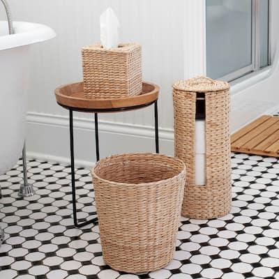 Household Essentials 3-Piece Wicker Bath Accessory Set, Natural
