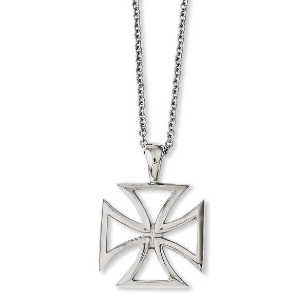 Chisel Stainless Steel Polished Cross Pendant 18in Necklace (1 mm) - 18 in