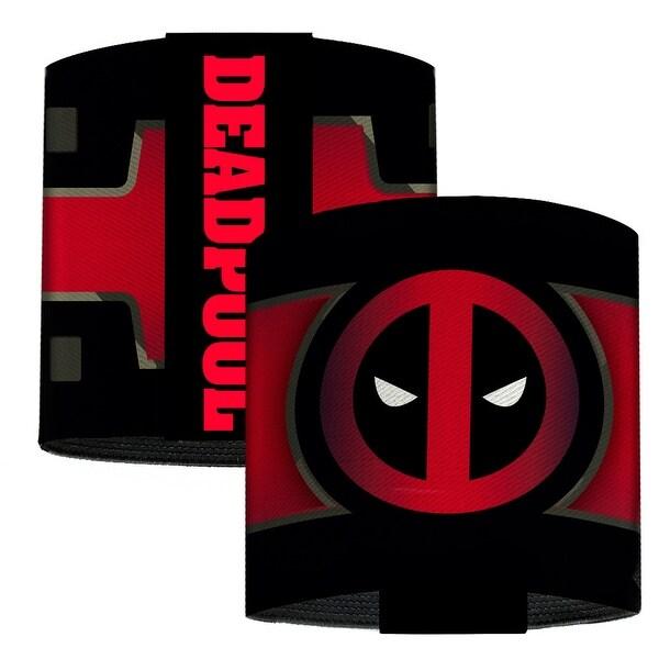 Deadpool Logo Chest Stripe Black Grays Reds White Elastic Wrist Cuff