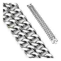 Stainless Steel Dual Band Bracelet (23 mm) - 8.75 in