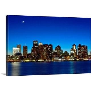 """Boston skyline with moon."" Canvas Wall Art"