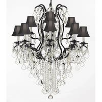 Swarovski Crystal Trimmed Wrought Iron Crystal Chandelier Lighting With Black Shades