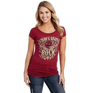Cowgirl Up Western Shirt Womens Cowgirls Rock S/S Maroon CG1903