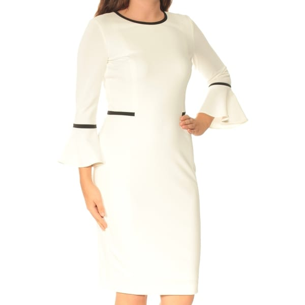 3d2d92829 Shop Womens White Bell Sleeve Below The Knee Sheath Wear To Work Dress  Size  6 - Free Shipping On Orders Over  45 - Overstock - 24060807