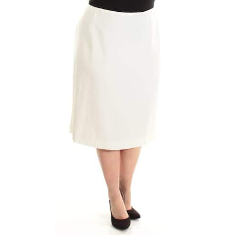 TAHARI Womens Ivory Below The Knee Pencil Wear To Work Skirt Plus Size: 18W