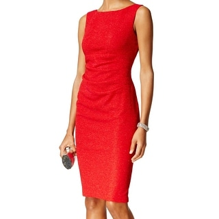 Jessica Howard NEW Red Women's Size 8 Sheath Shimmer Ruched Dress