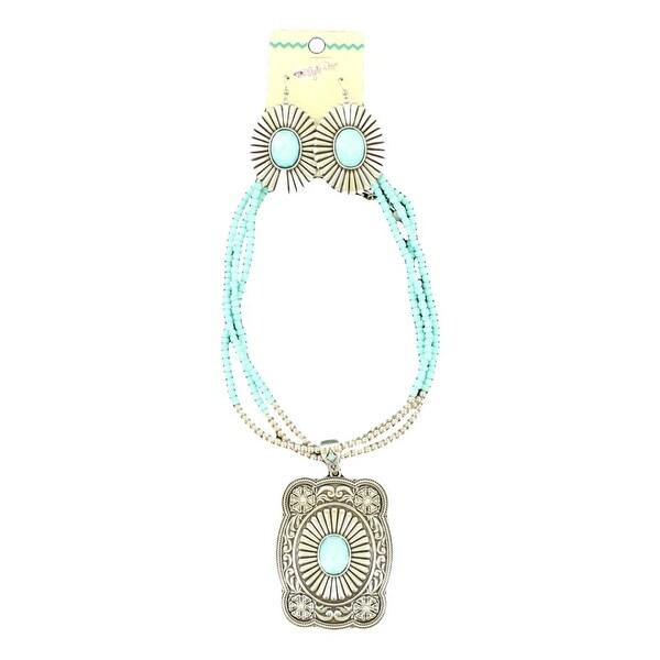 Blazin Roxx Jewelry Women Necklace Earring Scalloped Turq Silver 29076