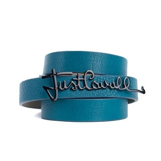 Roberto Cavalli Blue Leather Black Enamel Just Cavalli Logo Belts