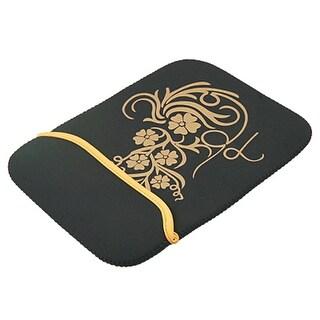 "Unique Bargains 10"" Laptop Notebook Flower Print Black Carry Sleeve Bag"