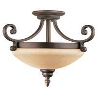 Millennium Lighting 1212 Oxford 2-Light Semi-Flush Ceiling Fixture - Rubbed bronze