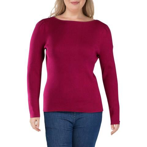 Lauren Ralph Lauren Womens Palyss Sweater Ribbed Puff Sleeves - Bright Claret