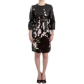 Dolce & Gabbana Black patent floral HANDPAINTED Women's dress - it42-m