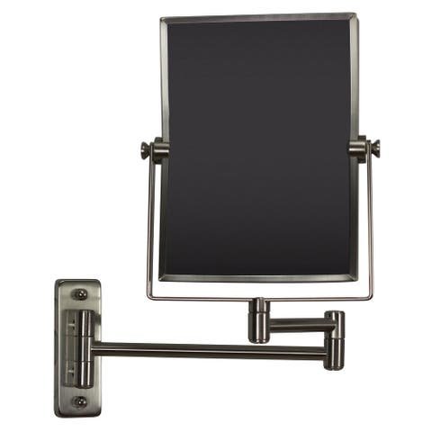 16.36-in. W Rectangle Brass-Mirror Wall Mount Magnifying Mirror In Brushed Nickel Color - Brushed Nickel