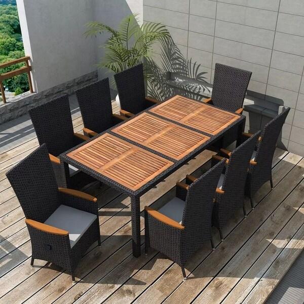 Vidaxl Outdoor Dining Set 17 Piece Poly Rattan Black Wicker Wood Top Table