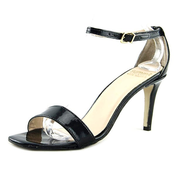 Summit White Mountain Marisella Women Open Toe Patent Leather Black Sandals