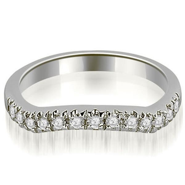0.25Ct Round Cut Diamond Curved Wedding Band Ring 14K White Gold Over