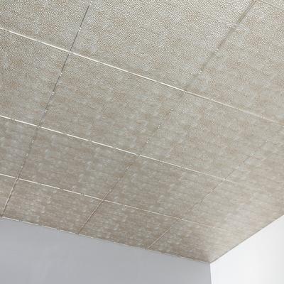 Fasade Border Fill Decorative Vinyl 2ft x 4ft Glue Up Ceiling Tile in Vintage Metal (5 Pack)