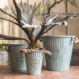 RusticReach 'Flowers and Garden' Iron Pot with Rope Handles (Set of 3)