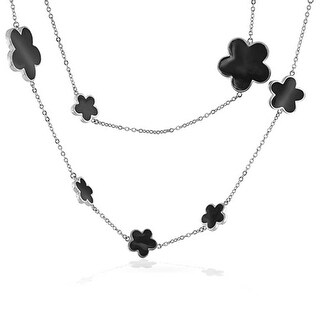 Bling Jewelry Rhodium Plated Black Enamel Five Leaf Clover Flower Necklace 42 Inches