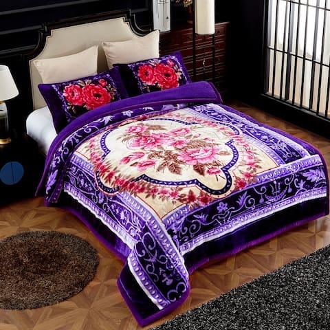 Ultra Plush Patterned 3-piece Sherpa Borrego Comforter Set