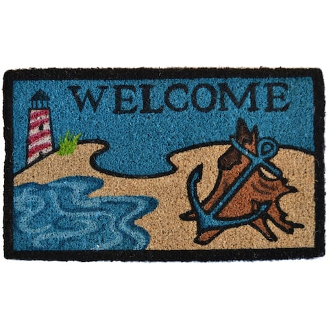"30"" Blue and Brown Beach Lighthouse Design Decorative Hand Woven Doormat"