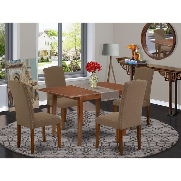 Rectangle 48 60 Inch Kitchen Table And Parson Chairs In Dark Coffee Linen Fabric Number Of Chairs Option Overstock 28986403