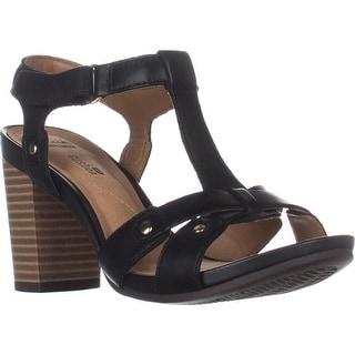 Clarks Banoy Valtina Cushion T-Strap Dress Sandals, Black