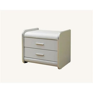 Greatime NL1002WH 15.7 x 20.7 in. White Two Draws Vinyl Nightstand