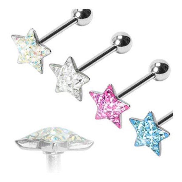 "Surgical Steel Barbell with Paved - Gem Star Clear Epoxy Surface - 14 GA - 5/8"" Long (Sold Ind.)"