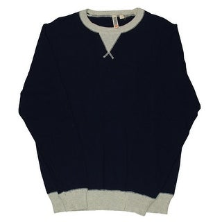 C89 Mens Heathered Ribbed Trim Crewneck Sweater - L