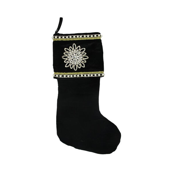 "24"" Gold and White Trimmed Black Velveteen Jeweled Christmas Stocking"