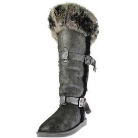 Australia Luxe Womens Tsar X Tall Sheepskin Crackled Knee-High Boots