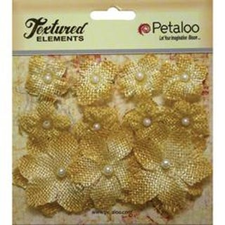"Antique Gold - Textured Elements Burlap Mini Flowers .75"" To 1.5"" 11/Pkg"