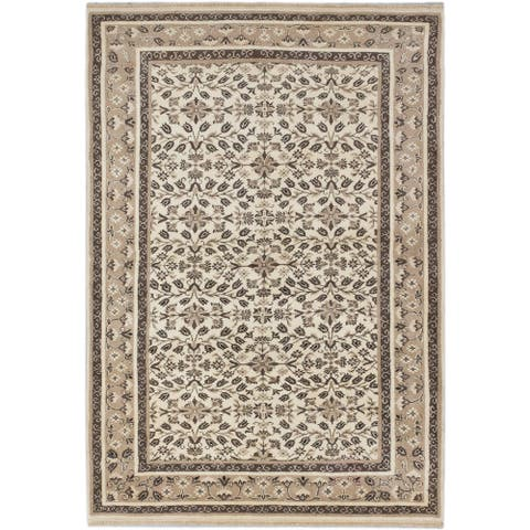 ECARPETGALLERY Hand-knotted Finest Agra Jaipur Cream Wool Rug - 4'10 x 7'0