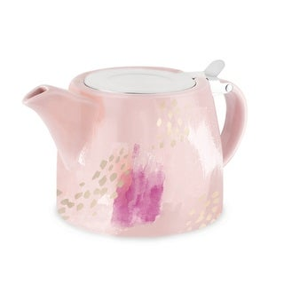 Harper Pink Abstract Ceramic Teapot & Infuser by Pinky Up