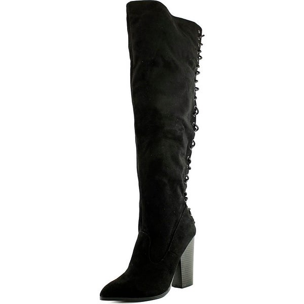 Chelsea & Zoe Noelle Women Pointed Toe Synthetic Black Over the Knee Boot
