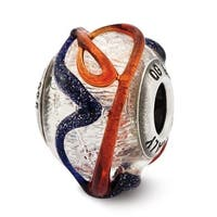 Italian Sterling Silver Reflections with Blue & Red Textured Lines Glass Bead (4mm Diameter Hole)