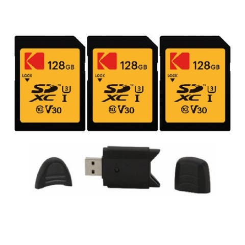 Kodak SD 128GB UHS-I U3 V30 Ultra (95MB/s Read, 85MB/s write) - 3 Pack - Black