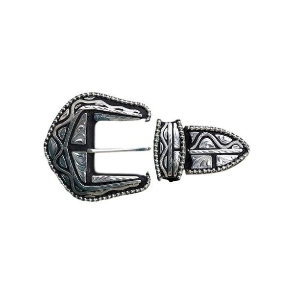 Silver Strike Western Belt Buckle Filigree 3 Piece Set Silver - One size