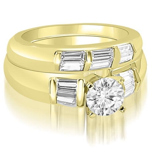 2.10 cttw. 14K Yellow Gold Round And Baguette Cut Diamond Bridal Set