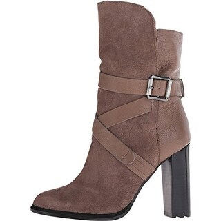 Calvin Klein Womens Mid-Calf Boots Suede Belted