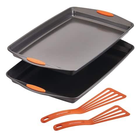 Rachael Ray Bakeware Double Batch Cookie Pan & Utensil 4PC Set