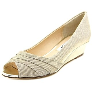 Nina Reba Women Open Toe Canvas Gold Wedge Heel