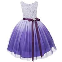 Kids Dream Little Girls Purple Ombre Rosette Special Occasion Dress 6-14