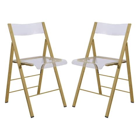 LeisureMod Menno Clear Gold Chrome Frame Folding Dining Chair Set of 2
