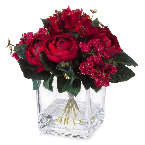 Enova Home Mixed Silk Ranunculus Flower in Cube Glass Vase With Faux Water For Home Decoration. Opens flyout.