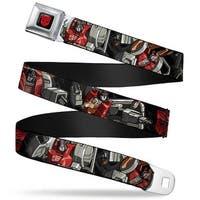 Transformers Autobot Logo Full Color Black Red Dinobots Group Pose Autobot Seatbelt Belt
