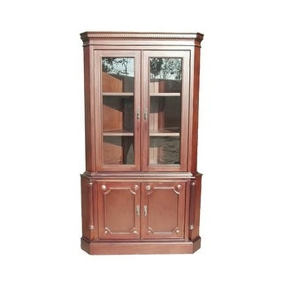 Offex Solid Mahogany Wood 2 Door Corner Curio Cabinet with Glass