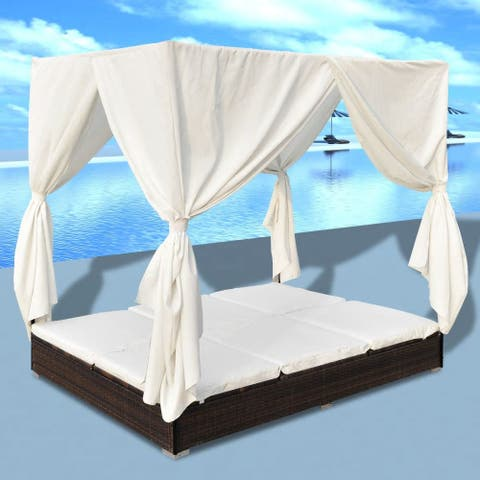 "vidaXL Outdoor Lounge Bed with Curtains Poly Rattan - 77.6"" x 55"" x 71"""